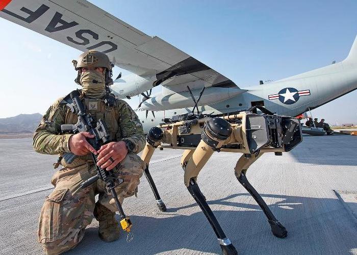 Força Aérea americana faz testes com cães-robôs em deserto dos EUA